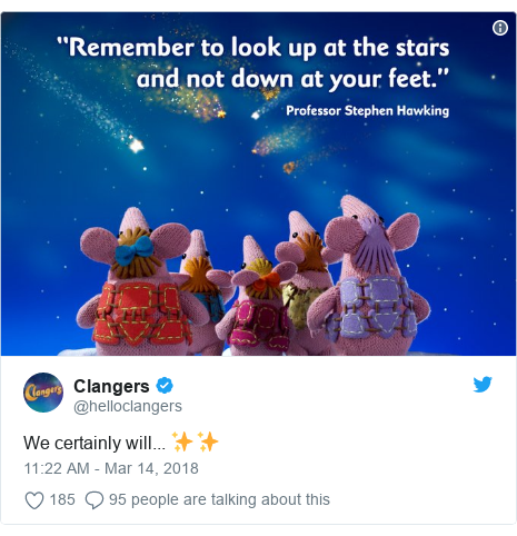 Twitter post by @helloclangers: We certainly will... ✨✨