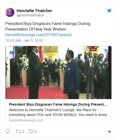 Twitter post by @henriettethatch: President Biya Disgraces Fame Ndongo During Presentation Of New Year Wishes