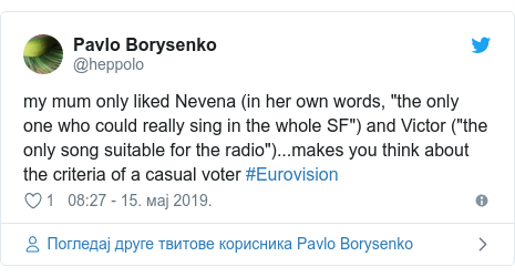 """Twitter post by @heppolo: my mum only liked Nevena (in her own words, """"the only one who could really sing in the whole SF"""") and Victor (""""the only song suitable for the radio"""")...makes you think about the criteria of a casual voter #Eurovision"""
