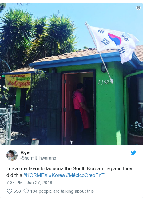 Twitter post by @hermit_hwarang: I gave my favorite taqueria the South Korean flag and they did this #KORMEX #Korea #MéxicoCreoEnTi