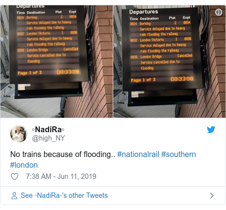 Twitter post by @high_NY: No trains because of flooding.. #nationalrail #southern #london