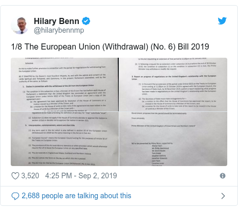 Twitter post by @hilarybennmp: 1/8 The European Union (Withdrawal) (No. 6) Bill 2019
