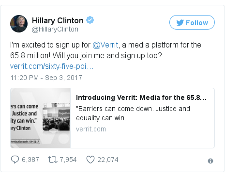 Twitter post by @HillaryClinton: I'm excited to sign up for @Verrit, a media platform for the 65.8 million! Will you join me and sign up too? https //t.co/bOLSMyk6bG