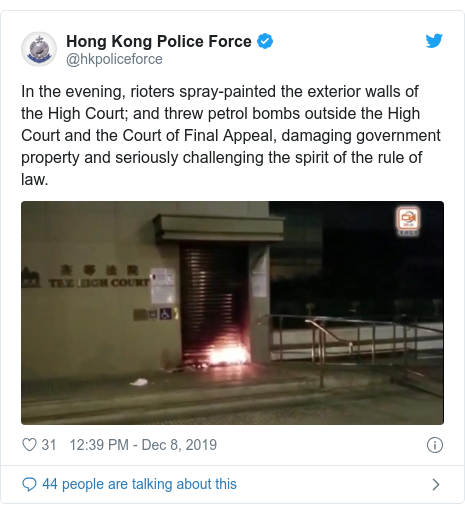 Twitter post by @hkpoliceforce: In the evening, rioters spray-painted the exterior walls of the High Court; and threw petrol bombs outside the High Court and the Court of Final Appeal, damaging government property and seriously challenging the spirit of the rule of law.