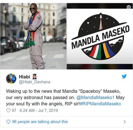 "Twitter post by @Hlabi_Davhana: Waking up to the news that Mandla ""Spaceboy"" Maseko, our very astronaut has passed on. @MandlaMaseko1 May your soul fly with the angels, RIP sir!#RIPMandlaMaseko"