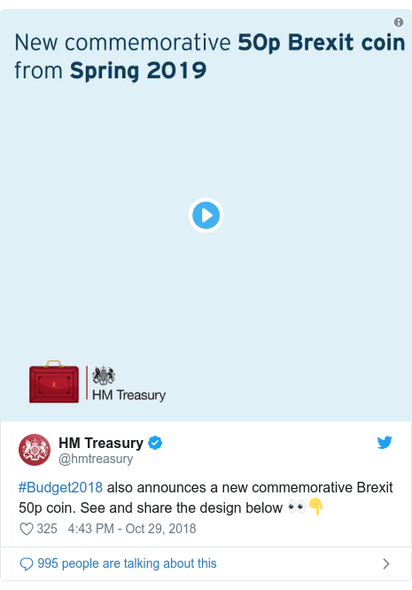 Twitter post by @hmtreasury: #Budget2018 also announces a new commemorative Brexit 50p coin. See and share the design below 👀👇