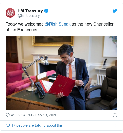 Twitter post by @hmtreasury: Today we welcomed @RishiSunak as the new Chancellor of the Exchequer.