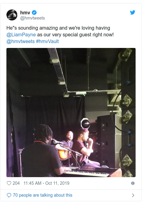 """Twitter post by @hmvtweets: He""""s sounding amazing and we're loving having @LiamPayne as our very special guest right now!  @hmvtweets #hmvVault"""