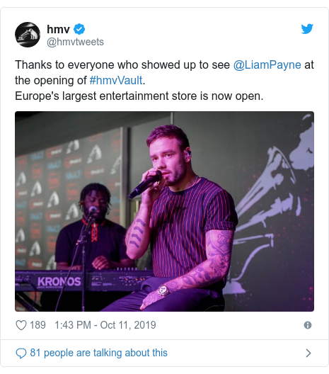 Twitter post by @hmvtweets: Thanks to everyone who showed up to see @LiamPayne at the opening of #hmvVault. Europe's largest entertainment store is now open.