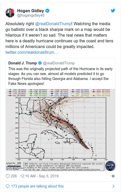 Twitter post by @hogangidley45: Absolutely right @realDonaldTrump! Watching the media go ballistic over a black sharpie mark on a map would be hilarious if it weren't so sad. The real news that matters here is a deadly hurricane continues up the coast and tens millions of Americans could be greatly impacted.