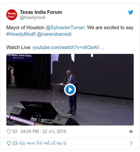 Twitter post by @howdymodi: Mayor of Houston @SylvesterTurner  We are excited to say #HowdyModi! @narendramodi Watch Live