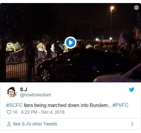 Twitter post by @howticklediam: #SCFC fans being marched down into Burslem... #PVFC
