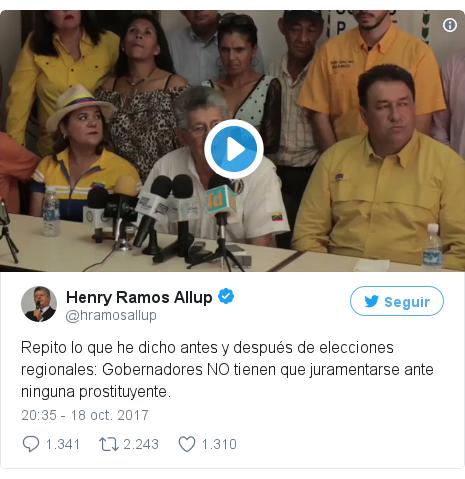 Publicación de Twitter por @hramosallup: Repito lo que he dicho antes y después de elecciones regionales  Gobernadores NO tienen que juramentarse ante ninguna prostituyente.
