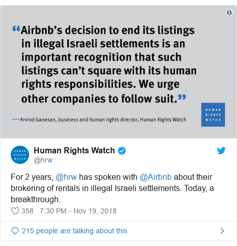 Twitter post by @hrw: For 2 years, @hrw has spoken with @Airbnb about their brokering of rentals in illegal Israeli settlements. Today, a breakthrough.