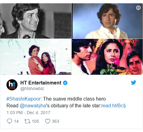 Twitter හි @htshowbiz කළ පළකිරීම: #ShashiKapoor  The suave middle class heroRead @nawabjha's obituary of the late star