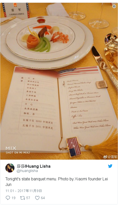 Twitter post by @huanglisha: Tonight's state banquet menu. Photo by Xiaomi founder Lei Jun