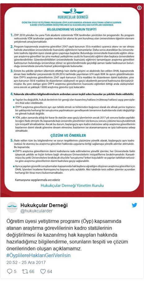 @hukukcularder tarafından yapılan Twitter paylaşımı: Öğretim üyesi yetiştirme programı (Öyp) kapsamında atanan araştırma görevlilerinin kadro statülerinin değiştirilmesi ile kazanılmış hak kayıpları hakkında hazırladığımız bilgilendirme, sorunların tespiti ve çözüm önerilerinden oluşan açıklamamız. #ÖyplilereHaklarıGeriVerilsin