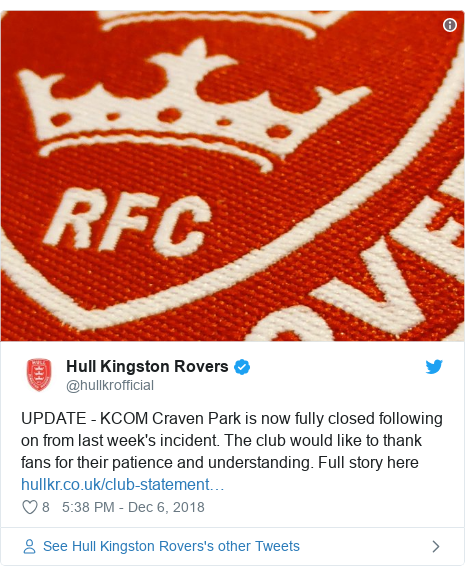 Twitter post by @hullkrofficial: UPDATE - KCOM Craven Park is now fully closed following on from last week's incident. The club would like to thank fans for their patience and understanding. Full story here