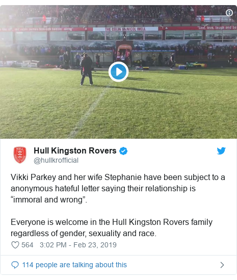 """Twitter post by @hullkrofficial: Vikki Parkey and her wife Stephanie have been subject to a anonymous hateful letter saying their relationship is """"immoral and wrong"""".Everyone is welcome in the Hull Kingston Rovers family regardless of gender, sexuality and race."""