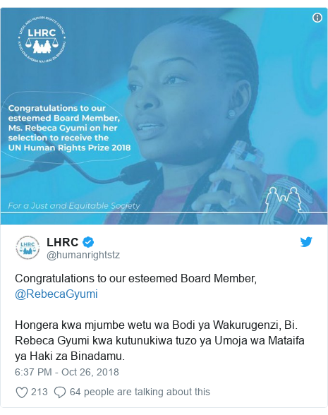 Ujumbe wa Twitter wa @humanrightstz: Congratulations to our esteemed Board Member, @RebecaGyumi Hongera kwa mjumbe wetu wa Bodi ya Wakurugenzi, Bi. Rebeca Gyumi kwa kutunukiwa tuzo ya Umoja wa Mataifa ya Haki za Binadamu.