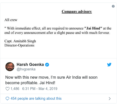 Twitter post by @hvgoenka: Now with this new move, I'm sure Air India will soon become profitable. Jai Hind!