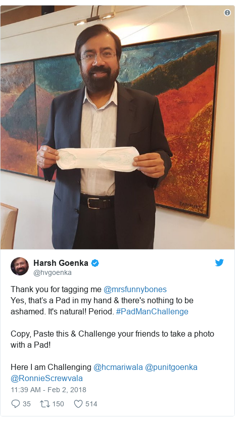 Twitter post by @hvgoenka: Thank you for tagging me @mrsfunnybonesYes, that's a Pad in my hand & there's nothing to be ashamed. It's natural! Period. #PadManChallengeCopy, Paste this & Challenge your friends to take a photo with a Pad!Here I am Challenging @hcmariwala @punitgoenka @RonnieScrewvala