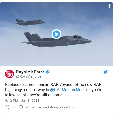 Twitter post by @RoyalAirForce: Footage captured from an RAF Voyager of the new RAF Lightnings on their way to @RAFMarhamMedia. If you're following this they're still airborne.