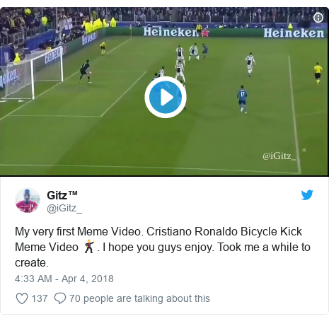 Twitter post by @iGitz_: My very first Meme Video. Cristiano Ronaldo Bicycle Kick Meme Video 🕺. I hope you guys enjoy. Took me a while to create.