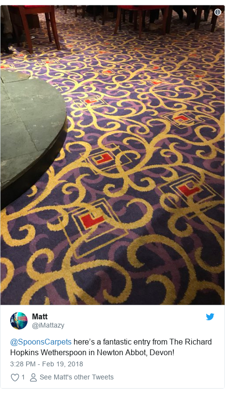 Twitter post by @iMattazy: @SpoonsCarpets here's a fantastic entry from The Richard Hopkins Wetherspoon in Newton Abbot, Devon!