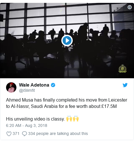 Twitter post by @iSlimfit: Ahmed Musa has finally completed his move from Leicester to Al-Nassr, Saudi Arabia for a fee worth about £17.5MHis unveiling video is classy. 🙌🙌
