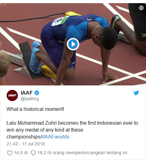 Twitter pesan oleh @iaaforg: What a historical moment!Lalu Muhammad Zohri becomes the first Indonesian ever to win any medal of any kind at these championships#IAAFworlds