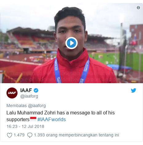 Twitter pesan oleh @iaaforg: Lalu Muhammad Zohri has a message to all of his supporters🇮🇩 #IAAFworlds