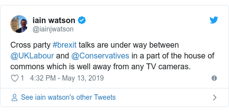 Twitter post by @iainjwatson: Cross party #brexit talks are under way between @UKLabour and @Conservatives in a part of the house of commons which is well away from any TV cameras.