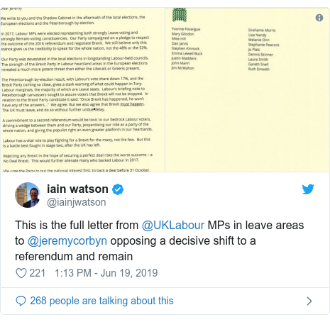 Twitter post by @iainjwatson: This is the full letter from ⁦@UKLabour⁩ MPs in leave areas to ⁦@jeremycorbyn⁩ opposing a decisive shift to a referendum and remain