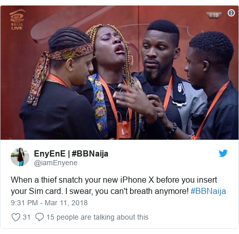 Twitter post by @iamEnyene: When a thief snatch your new iPhone X before you insert your Sim card. I swear, you can't breath anymore! #BBNaija