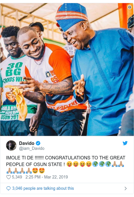 Twitter post by @iam_Davido: IMOLE TI DE !!!!!!! CONGRATULATIONS TO THE GREAT PEOPLE OF OSUN STATE ! 😝😝😝😝🌍🌍🌍🙏🏽🙏🏽🙏🏽🙏🏽🙏🏽🙏🏽🤩🤩