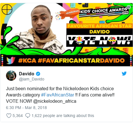 Twitter post by @iam_Davido: Just been nominated for the Nickelodeon Kids choice Awards category #FavAfricanStar !! Fans come alive!! VOTE NOW! @nickelodeon_africa