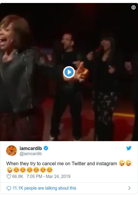 Twitter post by @iamcardib: When they try to cancel me on Twitter and instagram 🤪🤪🤪😊😊😊😊😊😊