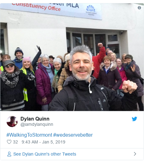 Twitter post by @iamdylanquinn: #WalkingToStormont #wedeservebetter