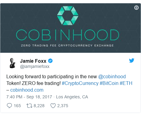 Twitter post by @iamjamiefoxx: Looking forward to participating in the new @cobinhood Token! ZERO fee trading! #CryptoCurrency #BitCoin #ETH –