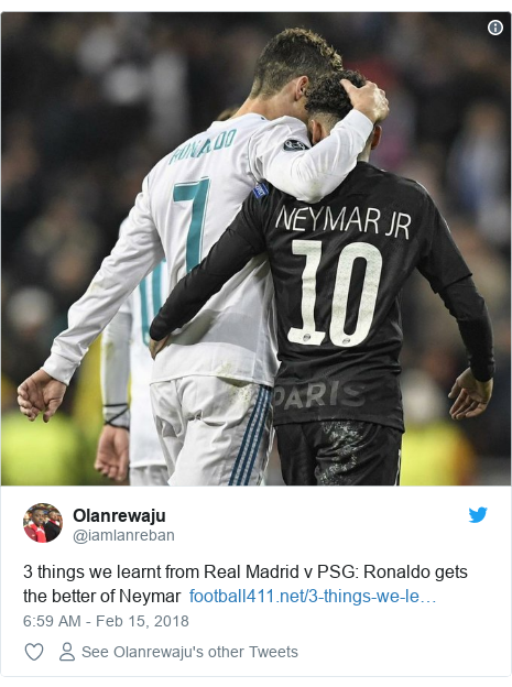 Twitter post by @iamlanreban: 3 things we learnt from Real Madrid v PSG  Ronaldo gets the better of Neymar