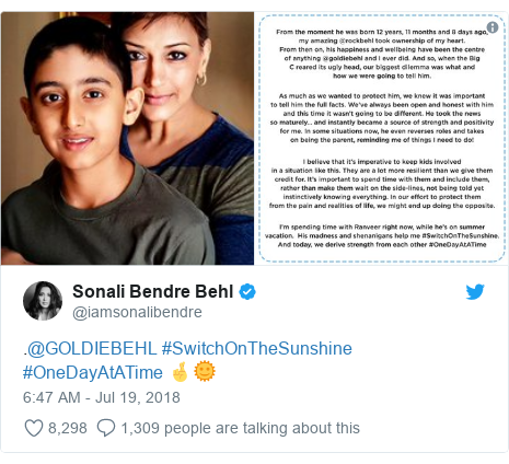 Twitter post by @iamsonalibendre: .@GOLDIEBEHL #SwitchOnTheSunshine  #OneDayAtATime 🤞🌞