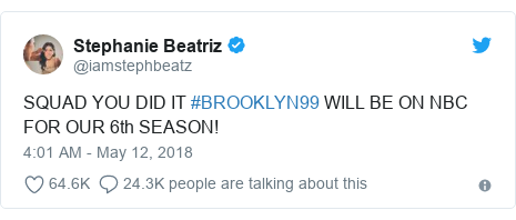 Twitter post by @iamstephbeatz: SQUAD YOU DID IT #BROOKLYN99 WILL BE ON NBC FOR OUR 6th SEASON!