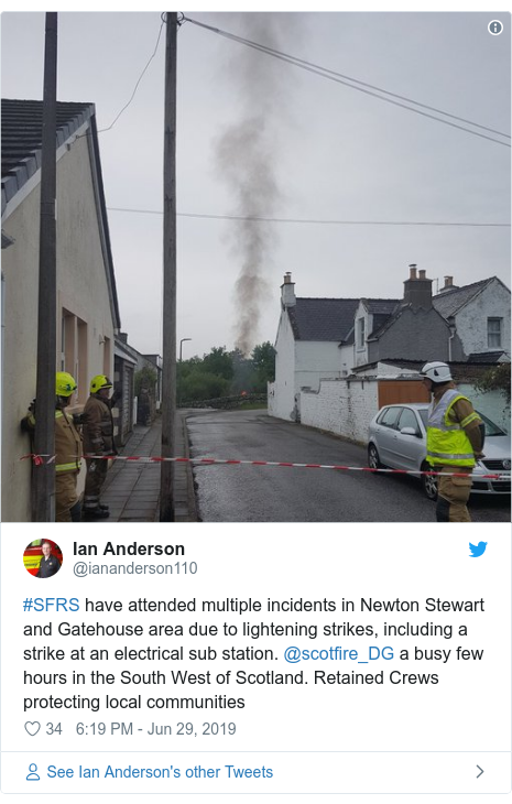 Twitter post by @iananderson110: #SFRS have attended multiple incidents in Newton Stewart and Gatehouse area due to lightening strikes, including a strike at an electrical sub station. @scotfire_DG a busy few hours in the South West of Scotland. Retained Crews protecting local communities