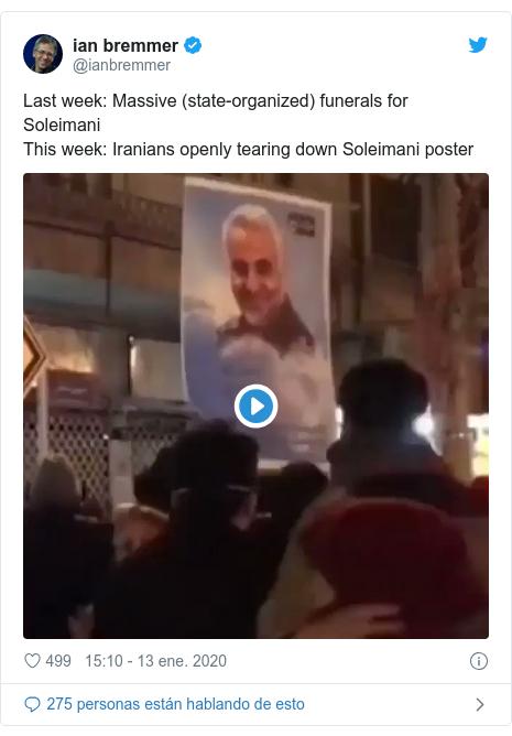 Publicación de Twitter por @ianbremmer: Last week  Massive (state-organized) funerals for Soleimani This week  Iranians openly tearing down Soleimani poster
