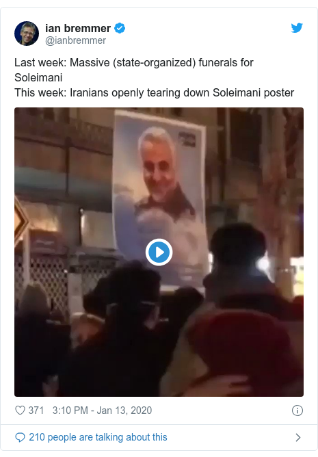 Twitter post by @ianbremmer: Last week  Massive (state-organized) funerals for Soleimani This week  Iranians openly tearing down Soleimani poster