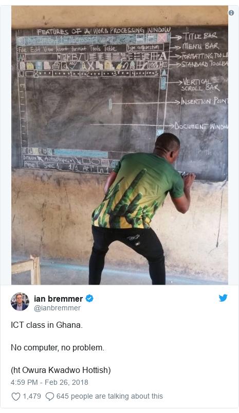 Ujumbe wa Twitter wa @ianbremmer: ICT class in Ghana. No computer, no problem. (ht Owura Kwadwo Hottish)