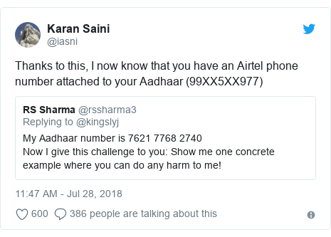 Twitter post by @iasni: Thanks to this, I now know that you have an Airtel phone number attached to your Aadhaar (99XX5XX977)