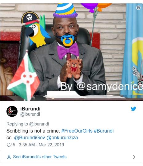 Twitter post by @iburundi: Scribbling is not a crime. #FreeOurGirls #Burundi cc  @BurundiGov @pnkurunziza