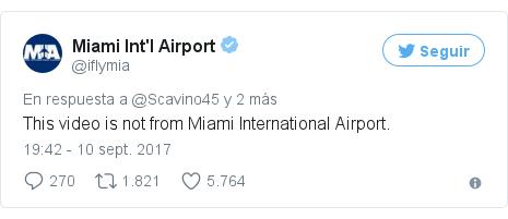 Publicación de Twitter por @iflymia: This video is not from Miami International Airport.